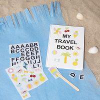Skitsebog dekoreret med rub on stickers