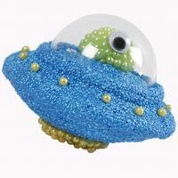 Ufo af styropor pyntet med Foam Clay, Pearl Clay og deko-kugle