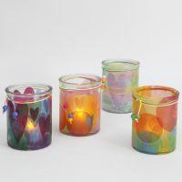 Lysglas pyntet med silkepapir