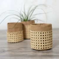 Opbevaringspose af læderpapir dekoreret med rørflet