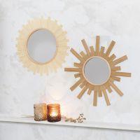 Spejl pyntet som sol med træfinér