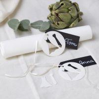 Bordkort til bryllup med kjole og slips