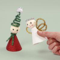 Nisse og engel af chenille og glitterpapir
