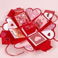 Explosion box dekoreret til valentinsdag