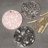 Platte i ler med sæbebobleteknik