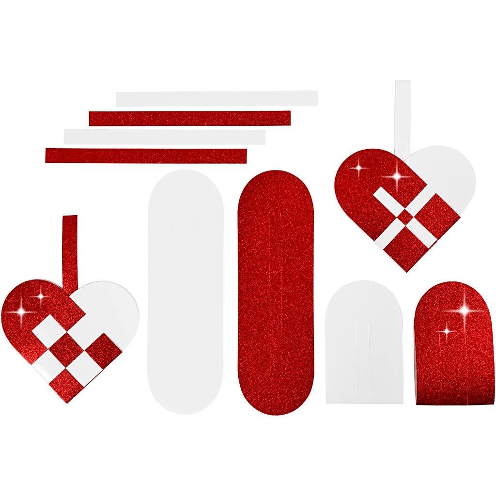 Flettede julehjerter, rød, hvid, str. 14,5×10 cm, 120+128 g, 8 sæt/ 1 pk.