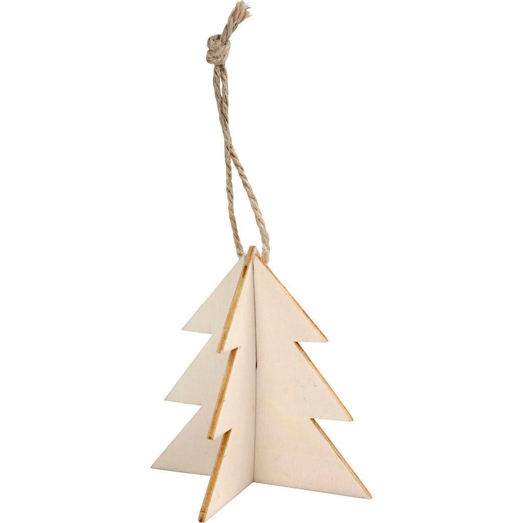 Billede af 3D ophæng, juletræ, str. 7,5x7,5 cm, 3 sæt/ 1 pk.